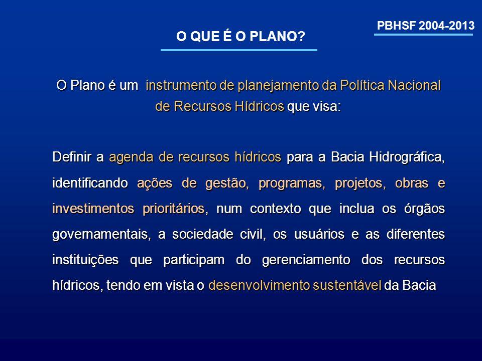 PBHSF 2004-2013 DISTRIBUIÇÃO DAS FONTES DE RECURSOS Governo Federal (PPA) – Orçamento R$ 2.932,9 milhões (56,3%) Governos Estaduais Compensação Hidroenergética Compensação Hidroenergética R$ 87,8 milhões (1,7%) Municípios Compensação Hidroenergética Compensação Hidroenergética R$ 87,8 milhões (1,7%) Cobrança pelo uso da água R$ 271,2 milhões (5,2%) Concessionárias de serviço público R$ 448,0 milhões (8,6%) GEF medium sized R$ 4,0 milhões (0,1%) GEF 2 R$ 27,0 milhões (0,5%) Fin.