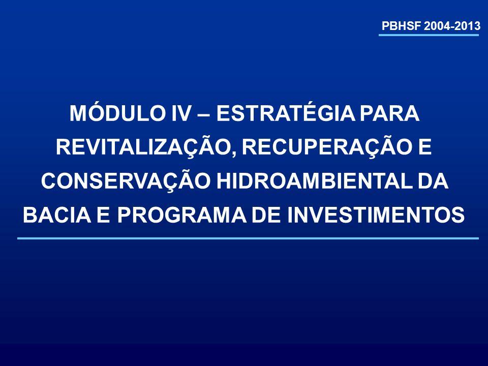 PBHSF 2004-2013 MÓDULO IV – ESTRATÉGIA PARA REVITALIZAÇÃO, RECUPERAÇÃO E CONSERVAÇÃO HIDROAMBIENTAL DA BACIA E PROGRAMA DE INVESTIMENTOS