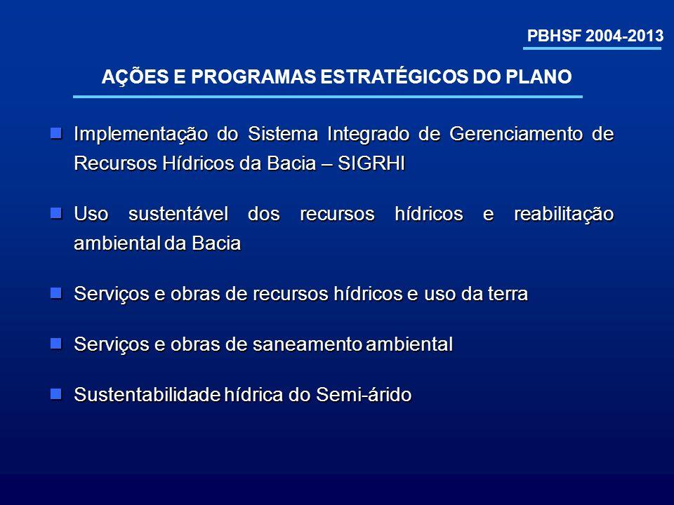 PBHSF 2004-2013 Implementação do Sistema Integrado de Gerenciamento de Recursos Hídricos da Bacia – SIGRHI Implementação do Sistema Integrado de Geren