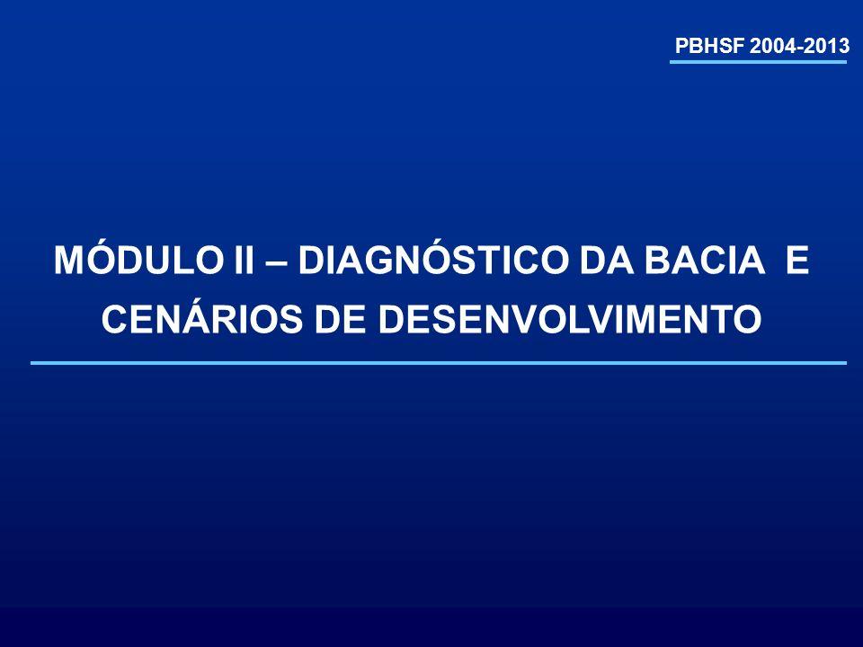 Pernambuco (10,6%) Alagoas (2,3%) Sergipe (1,1%) Bahia (47,2%) Minas Gerais (38,2%) DF (0,2%) Goiás (0,4%) PBHSF 2004-2013 CARACTERIZAÇÃO GERAL Área da Bacia: 638.574 km 2 (8% do país) População total: 12.795.631 hab.