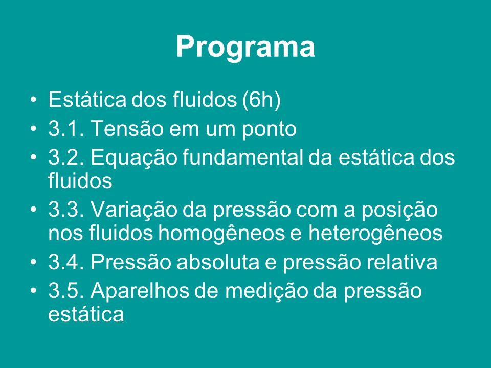 Programa Estática dos fluidos (6h) 3.1. Tensão em um ponto 3.2. Equação fundamental da estática dos fluidos 3.3. Variação da pressão com a posição nos