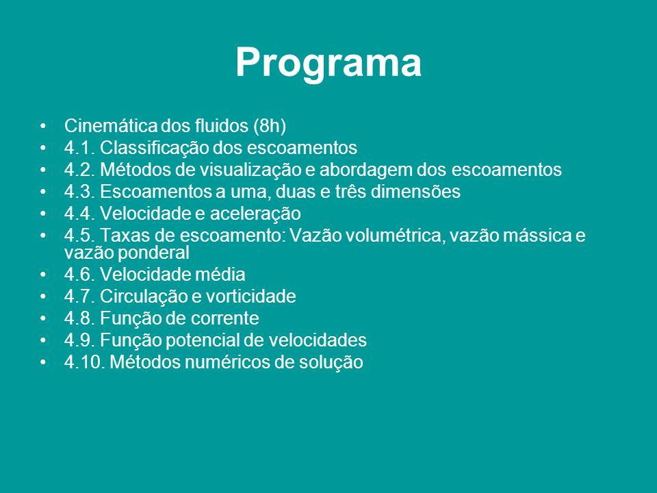 Programa Cinemática dos fluidos (8h) 4.1. Classificação dos escoamentos 4.2. Métodos de visualização e abordagem dos escoamentos 4.3. Escoamentos a um