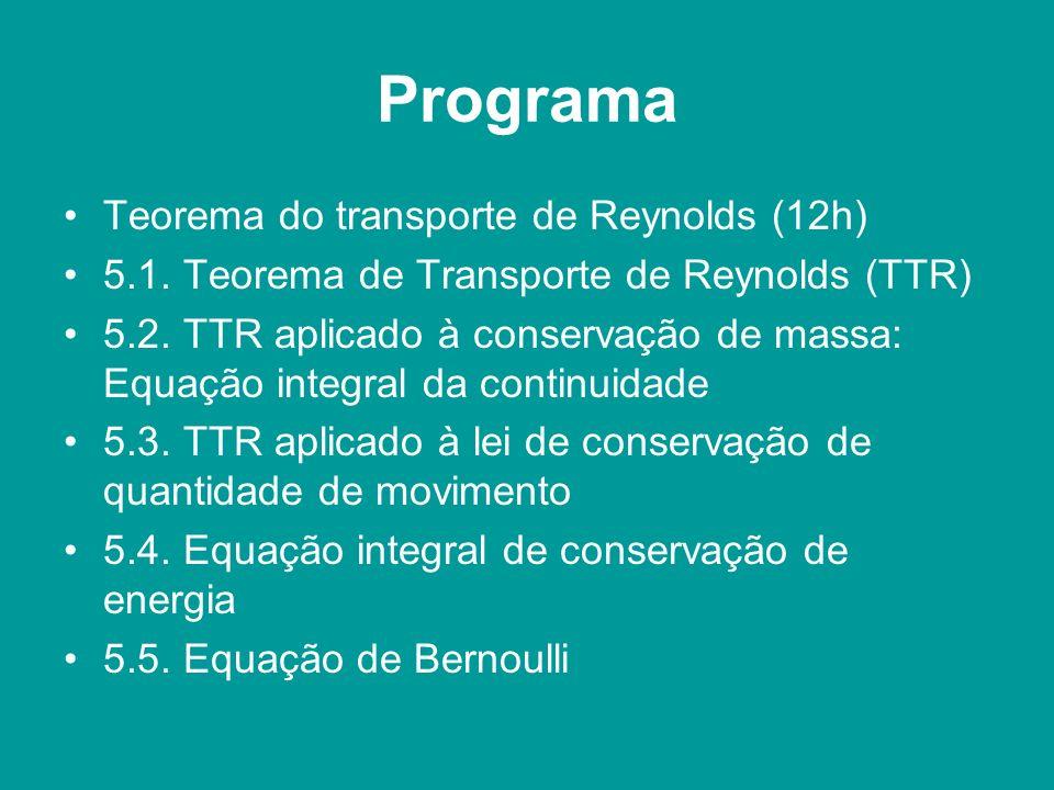 Programa Teorema do transporte de Reynolds (12h) 5.1. Teorema de Transporte de Reynolds (TTR) 5.2. TTR aplicado à conservação de massa: Equação integr