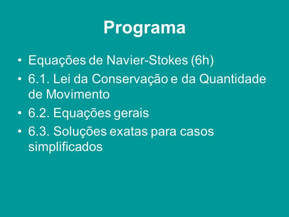 Programa Equações de Navier-Stokes (6h) 6.1. Lei da Conservação e da Quantidade de Movimento 6.2. Equações gerais 6.3. Soluções exatas para casos simp