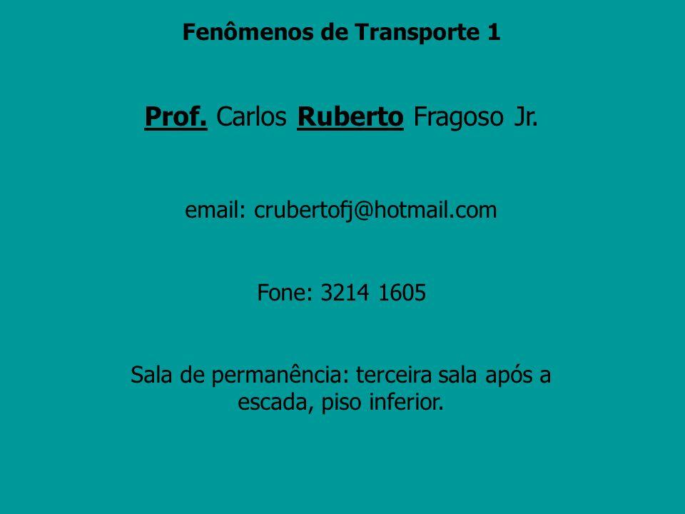 Fenômenos de Transporte 1 Prof. Carlos Ruberto Fragoso Jr. email: crubertofj@hotmail.com Fone: 3214 1605 Sala de permanência: terceira sala após a esc