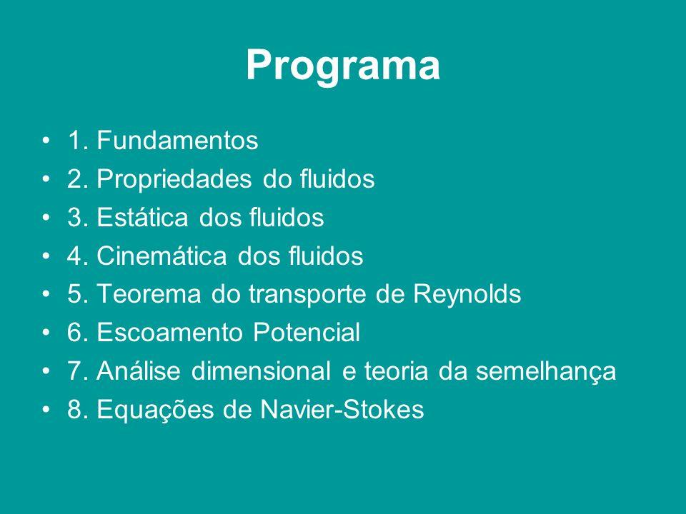 Programa 1. Fundamentos 2. Propriedades do fluidos 3. Estática dos fluidos 4. Cinemática dos fluidos 5. Teorema do transporte de Reynolds 6. Escoament