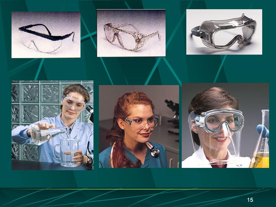 14 Proteção facial/ocular Tipos Óculos de segurança Protetor facial Características Não deve distorcer imagens ou limitar o campo visual Devem ser res