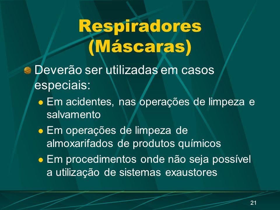 20 Proteção respiratória A utilização de EPI para proteção respiratória deve ser utilizado apenas quando as medidas de proteção coletiva não existem,