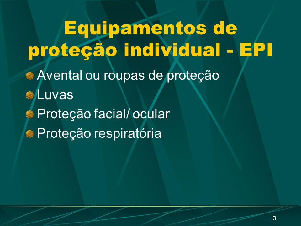3 Equipamentos de proteção individual - EPI Avental ou roupas de proteção Luvas Proteção facial/ ocular Proteção respiratória