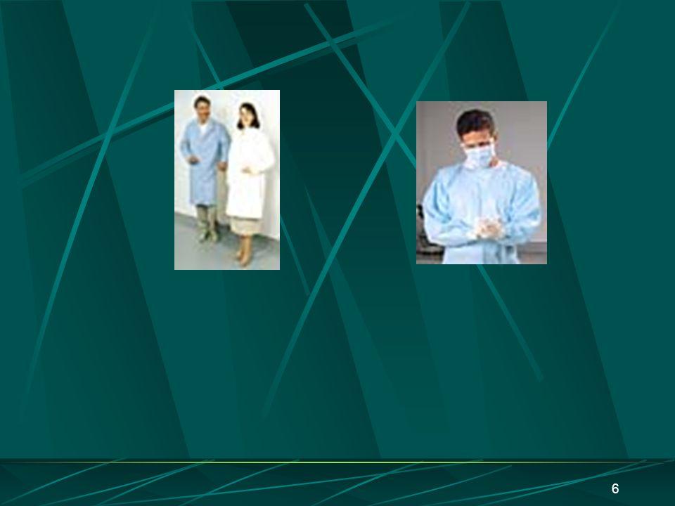 5 Avental ou roupas de proteção Laboratórios biológicos Aventais descartáveis : não protegem contra substâncias químicas; são altamente inflamáveis; d