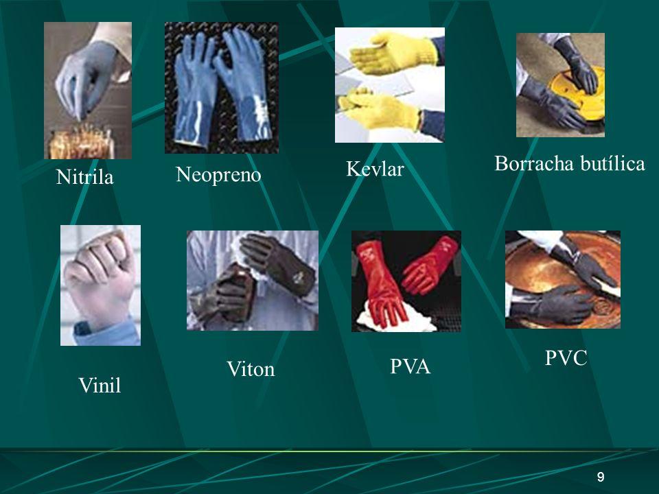 8 Luvas Material Nenhum material protege contra todos os produtos químicos Luvas de latex descartáveis são permeáveis a praticamente todos os produtos