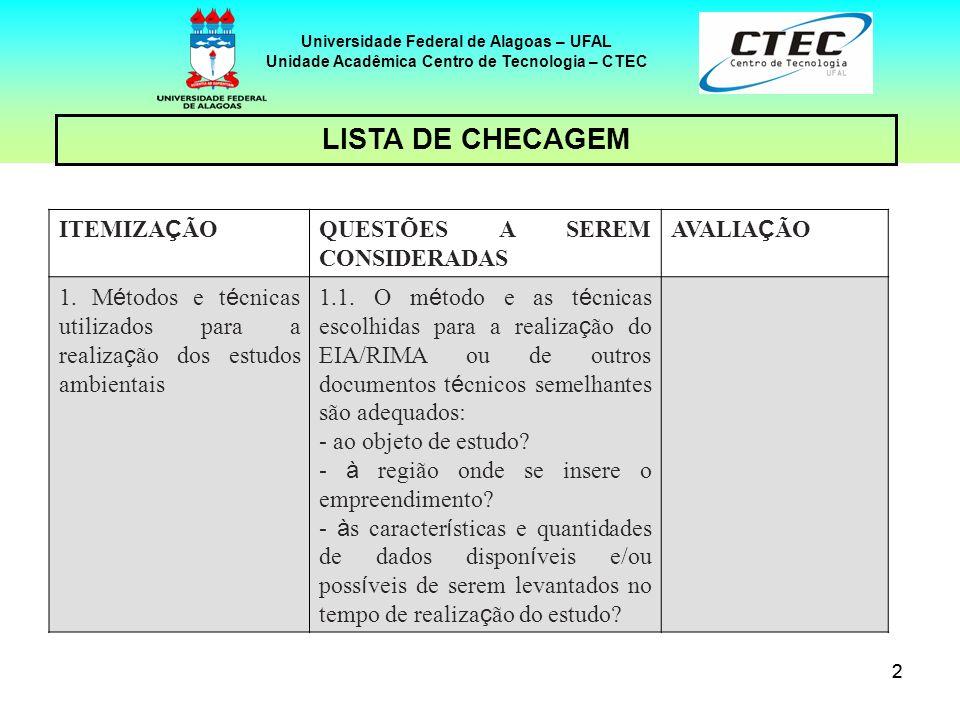 22 Universidade Federal de Alagoas – UFAL Unidade Acadêmica Centro de Tecnologia – CTEC ITEMIZA Ç ÃO QUESTÕES A SEREM CONSIDERADAS AVALIA Ç ÃO 1. M é