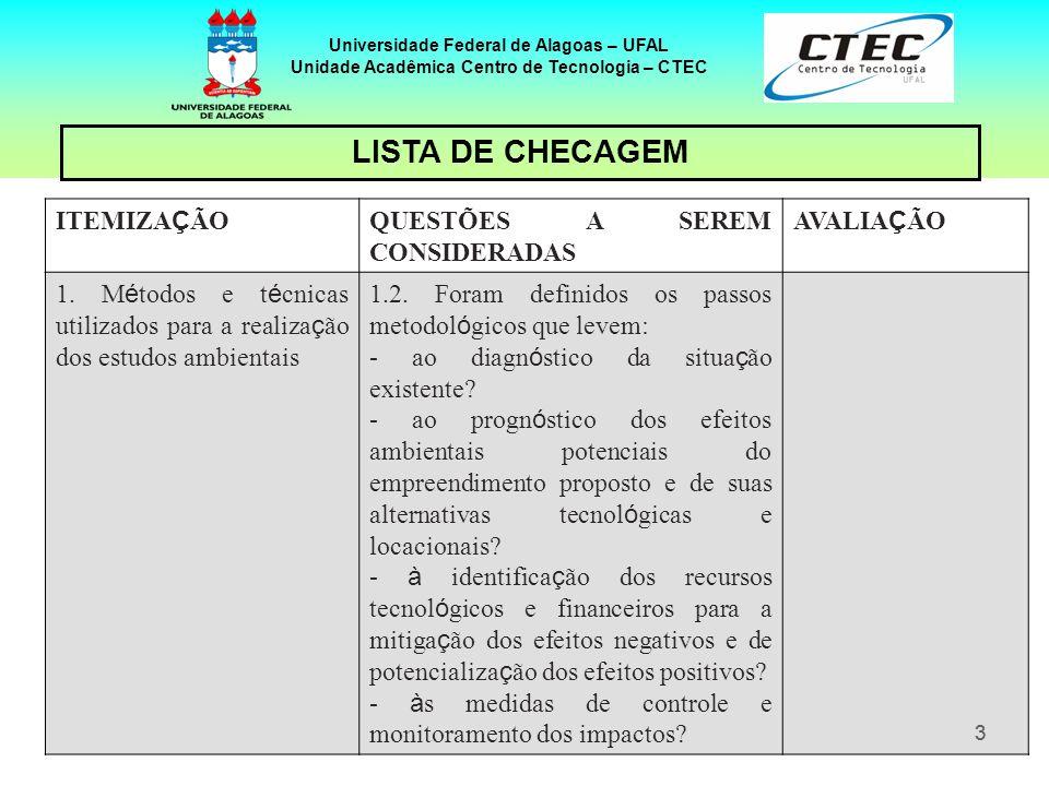 44 Universidade Federal de Alagoas – UFAL Unidade Acadêmica Centro de Tecnologia – CTEC ITEMIZA Ç ÃO QUESTÕES A SEREM CONSIDERADAS AVALIA Ç ÃO 2.