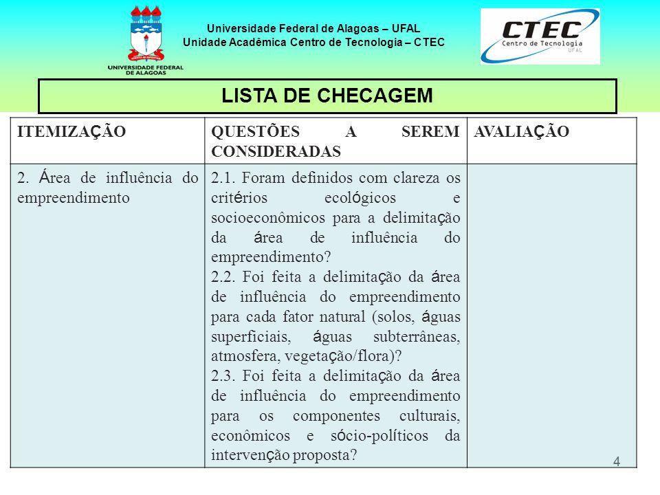 44 Universidade Federal de Alagoas – UFAL Unidade Acadêmica Centro de Tecnologia – CTEC ITEMIZA Ç ÃO QUESTÕES A SEREM CONSIDERADAS AVALIA Ç ÃO 2. Á re