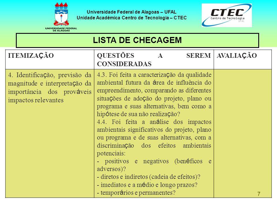 88 Universidade Federal de Alagoas – UFAL Unidade Acadêmica Centro de Tecnologia – CTEC ITEMIZA Ç ÃO QUESTÕES A SEREM CONSIDERADAS AVALIA Ç ÃO 4.