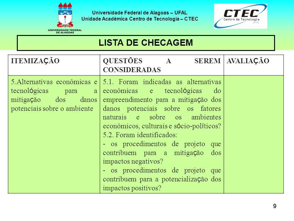 99 Universidade Federal de Alagoas – UFAL Unidade Acadêmica Centro de Tecnologia – CTEC ITEMIZA Ç ÃO QUESTÕES A SEREM CONSIDERADAS AVALIA Ç ÃO 5.Alter