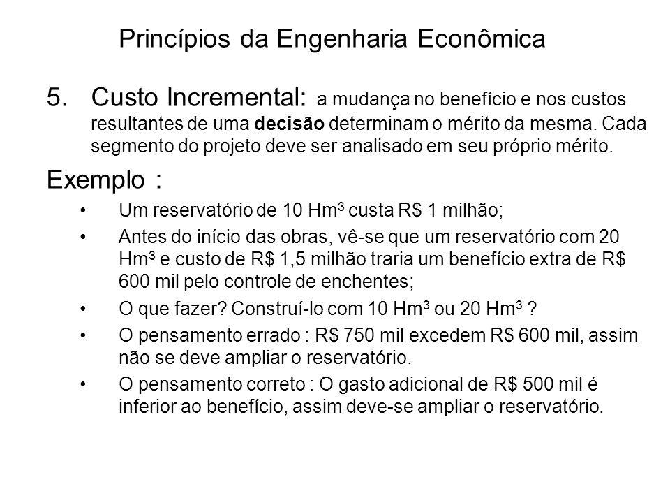 Princípios da Engenharia Econômica 5.Custo Incremental: a mudança no benefício e nos custos resultantes de uma decisão determinam o mérito da mesma.