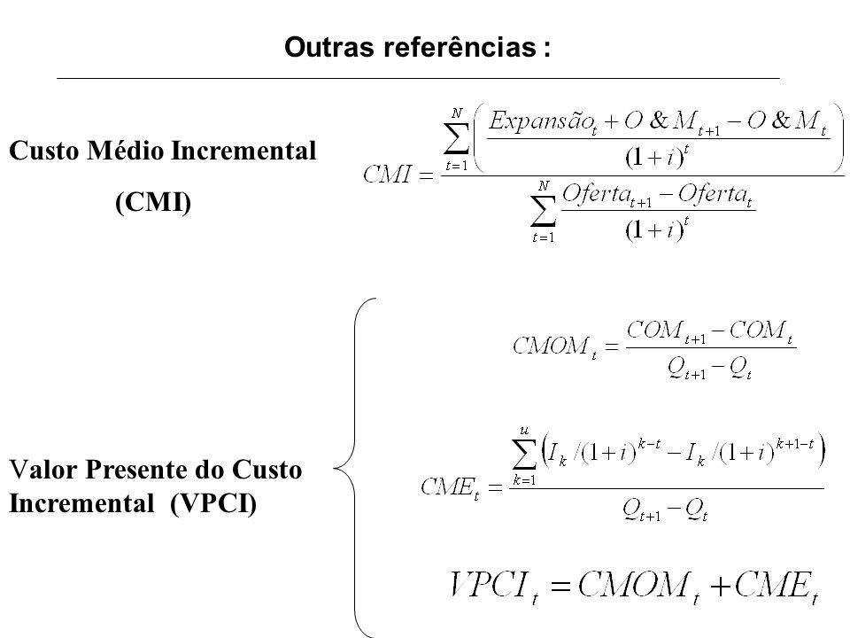 Outras referências : Custo Médio Incremental (CMI) Valor Presente do Custo Incremental (VPCI)
