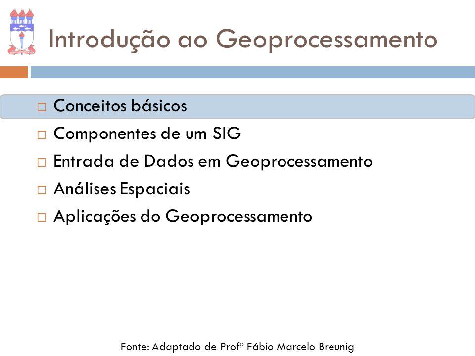 Conceitos básicos Geoprocessamento Geotecnologias Sistemas de Informação Geográfica - SIG Fonte: Adaptado de Profº Fábio Marcelo Breunig