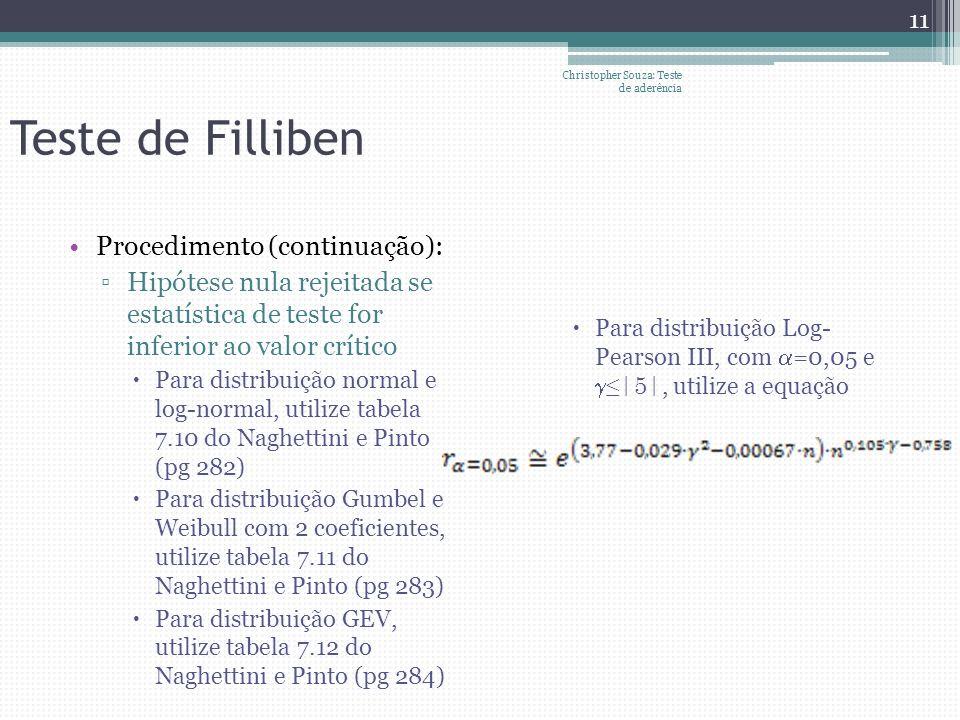 Teste de Filliben Procedimento (continuação): Hipótese nula rejeitada se estatística de teste for inferior ao valor crítico Para distribuição normal e