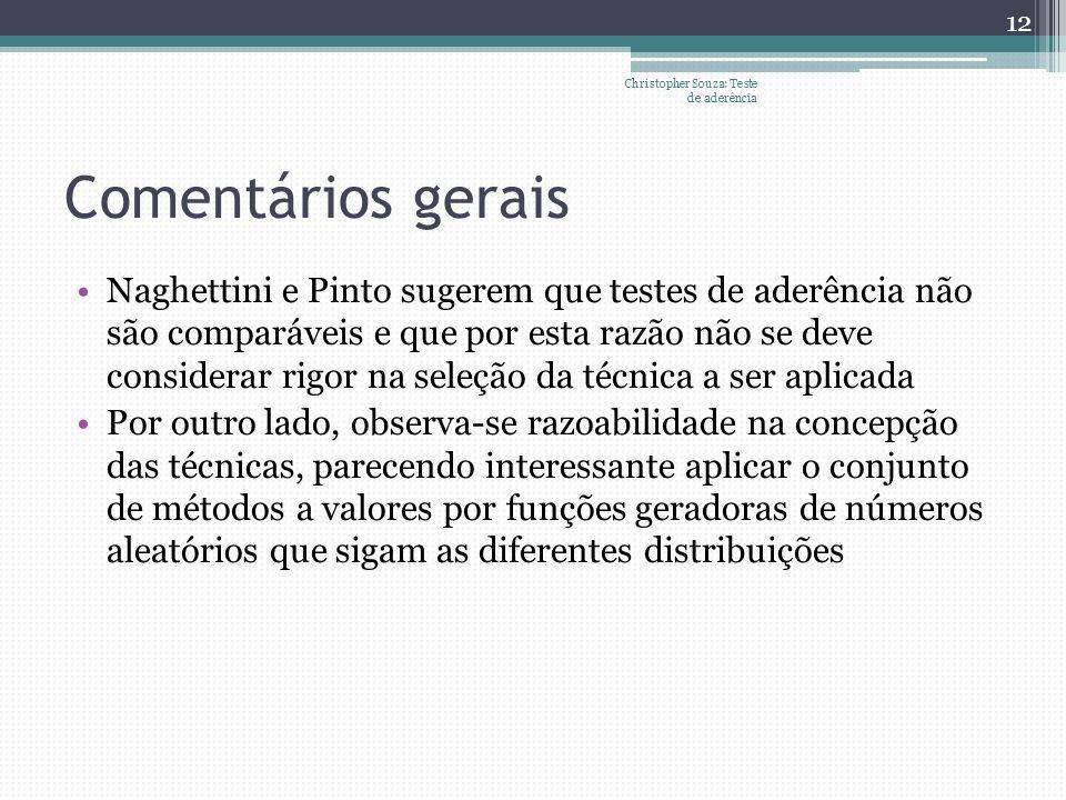 Comentários gerais Naghettini e Pinto sugerem que testes de aderência não são comparáveis e que por esta razão não se deve considerar rigor na seleção