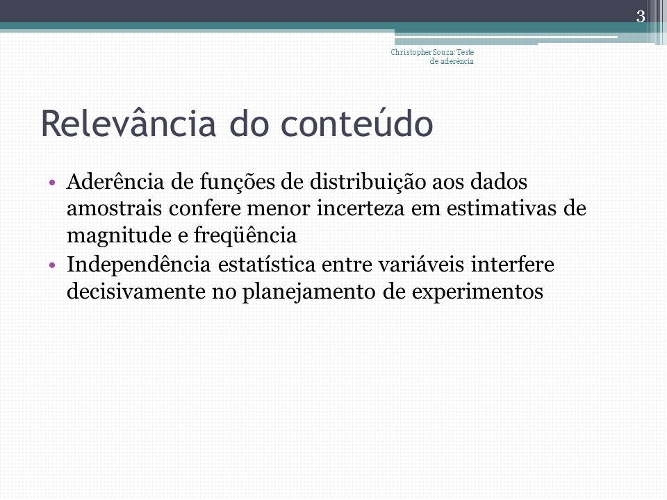 Relevância do conteúdo Aderência de funções de distribuição aos dados amostrais confere menor incerteza em estimativas de magnitude e freqüência Indep