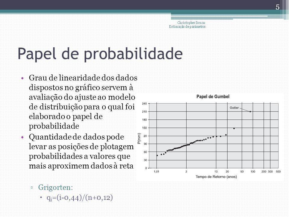 Teste ² Procedimento: Amostra de tamanho n é arranjada em histogramas de r intervalos de classe Estima-se a freqüência esperada no i-ésimo intervalo de classe a partir da fdp do modelo de distribuição em teste Define-se o número esperado (E i ) de observações a partir das freqüencias e tamanho de amostra Mescla-se intervalos para que tenham ao menos 5 valores esperados Christopher Souza: Teste de aderência 6 A partir dos valores observados para cada classe (O i ), estima-se ² por meio da fórmula Sugere-se a rejeição da hipótese de que o modelo (k coeficientes) proposto tem bom ajuste se Correção de Yates para continuidade