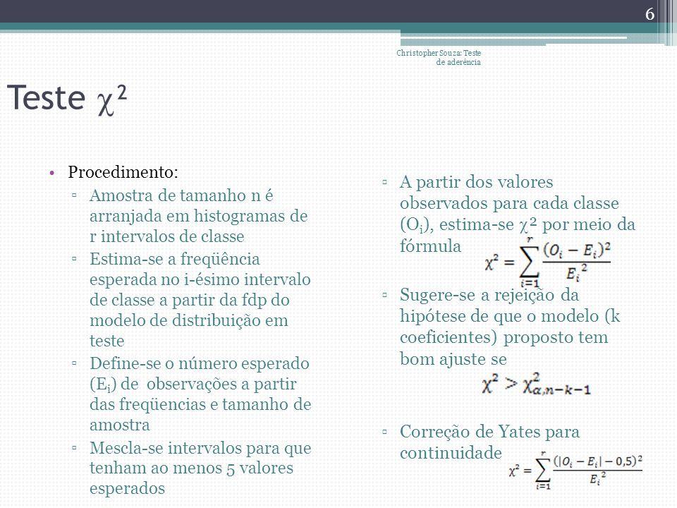Teste ² Procedimento: Amostra de tamanho n é arranjada em histogramas de r intervalos de classe Estima-se a freqüência esperada no i-ésimo intervalo d