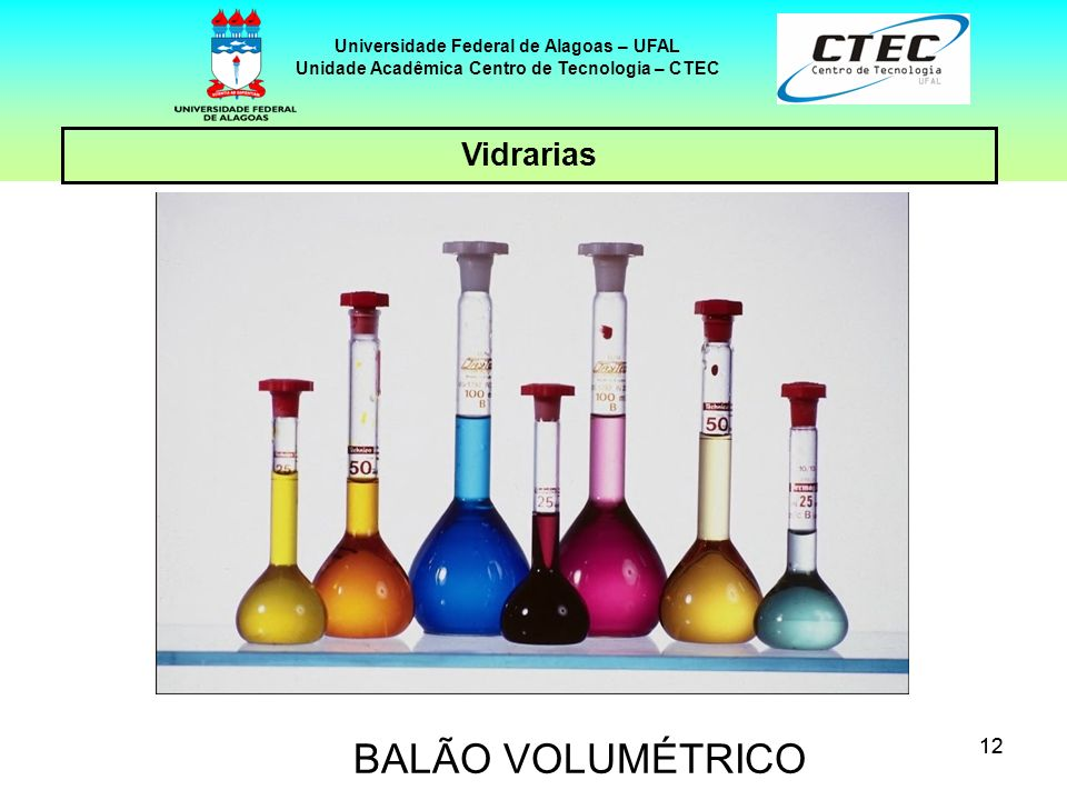 12 Vidrarias Universidade Federal de Alagoas – UFAL Unidade Acadêmica Centro de Tecnologia – CTEC BALÃO VOLUMÉTRICO