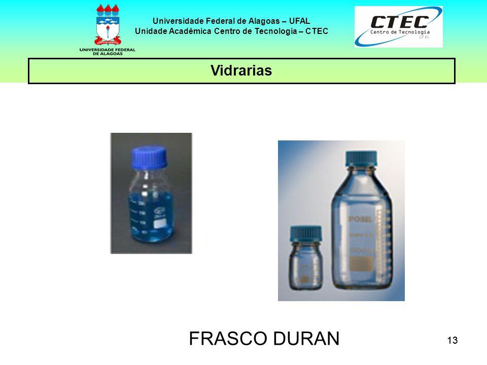 13 Vidrarias Universidade Federal de Alagoas – UFAL Unidade Acadêmica Centro de Tecnologia – CTEC FRASCO DURAN