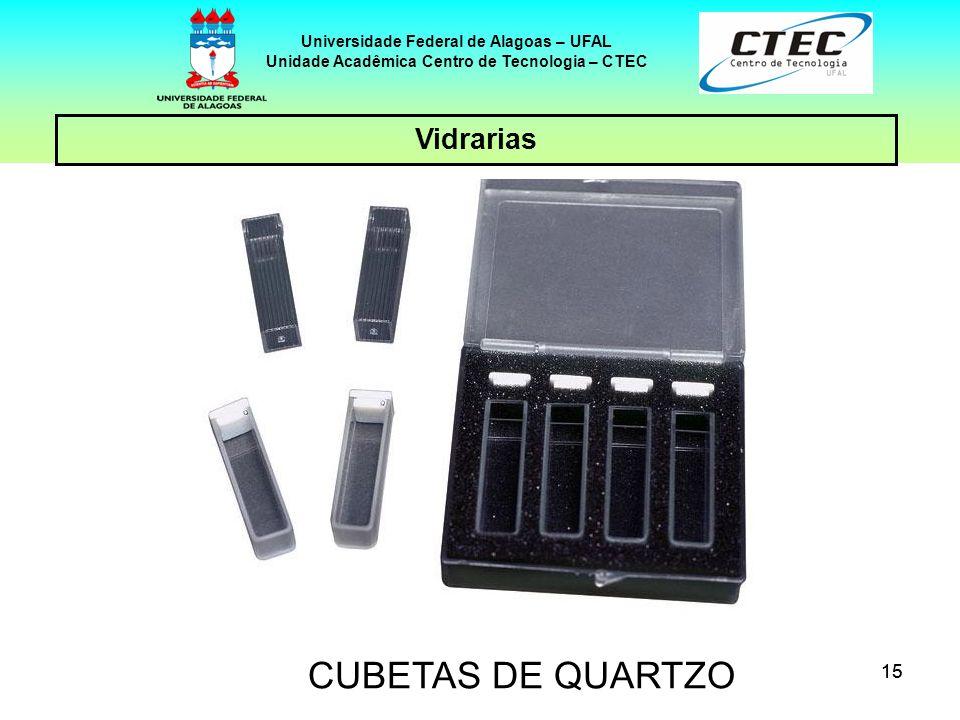 15 Vidrarias Universidade Federal de Alagoas – UFAL Unidade Acadêmica Centro de Tecnologia – CTEC CUBETAS DE QUARTZO