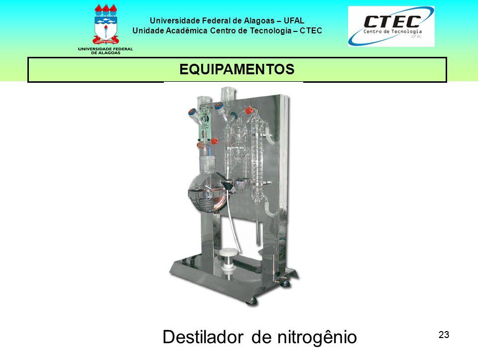 23 EQUIPAMENTOS Universidade Federal de Alagoas – UFAL Unidade Acadêmica Centro de Tecnologia – CTEC Destilador de nitrogênio