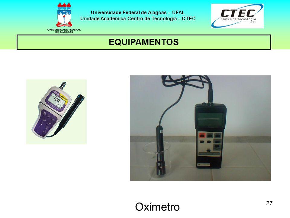 27 EQUIPAMENTOS Universidade Federal de Alagoas – UFAL Unidade Acadêmica Centro de Tecnologia – CTEC Oxímetro