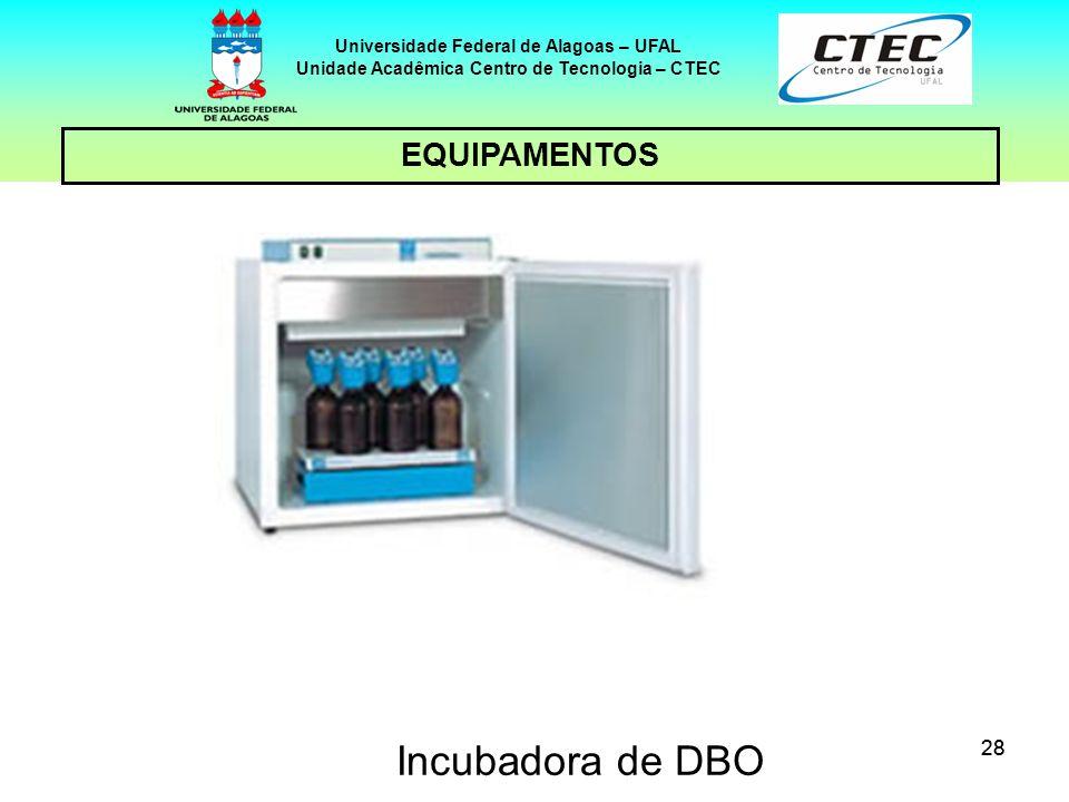 28 EQUIPAMENTOS Universidade Federal de Alagoas – UFAL Unidade Acadêmica Centro de Tecnologia – CTEC Incubadora de DBO