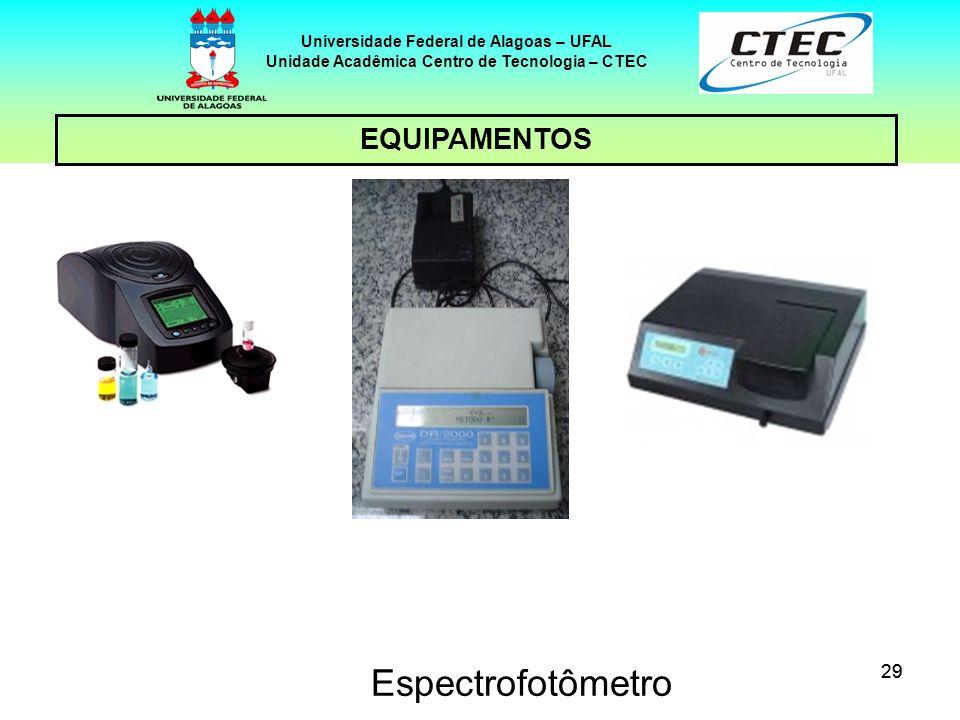 29 EQUIPAMENTOS Universidade Federal de Alagoas – UFAL Unidade Acadêmica Centro de Tecnologia – CTEC Espectrofotômetro