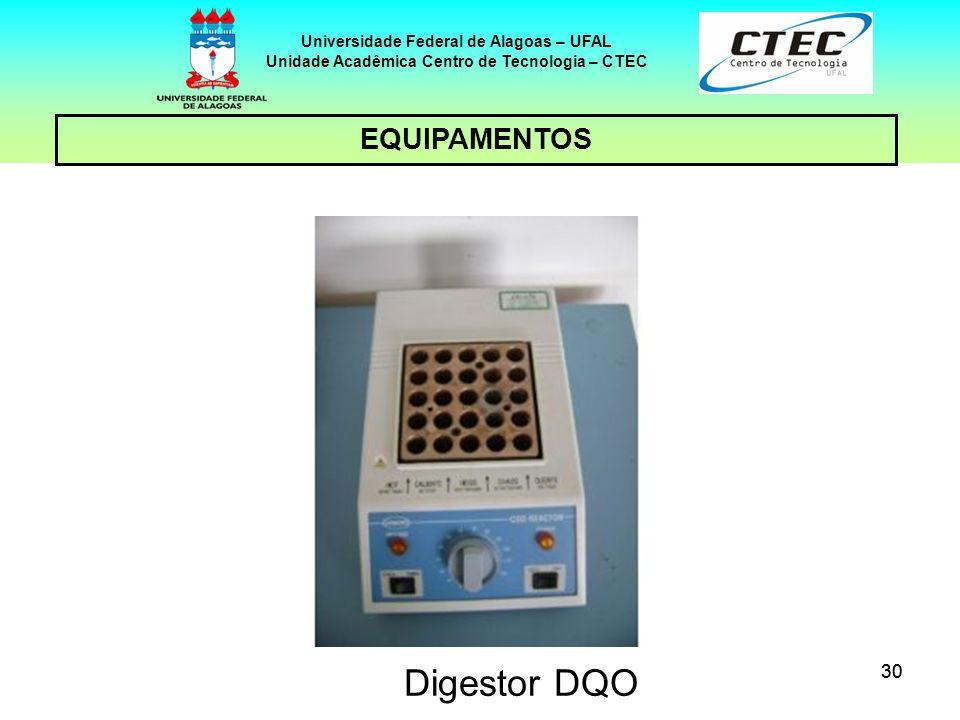 30 EQUIPAMENTOS Universidade Federal de Alagoas – UFAL Unidade Acadêmica Centro de Tecnologia – CTEC Digestor DQO