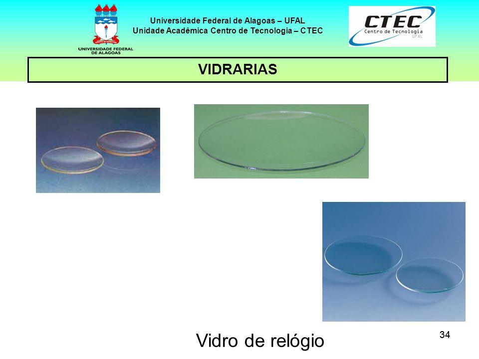 34 VIDRARIAS Universidade Federal de Alagoas – UFAL Unidade Acadêmica Centro de Tecnologia – CTEC Vidro de relógio