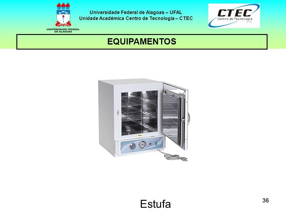 36 EQUIPAMENTOS Universidade Federal de Alagoas – UFAL Unidade Acadêmica Centro de Tecnologia – CTEC Estufa