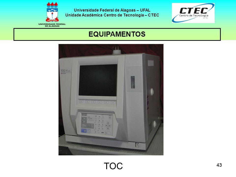 43 EQUIPAMENTOS Universidade Federal de Alagoas – UFAL Unidade Acadêmica Centro de Tecnologia – CTEC TOC