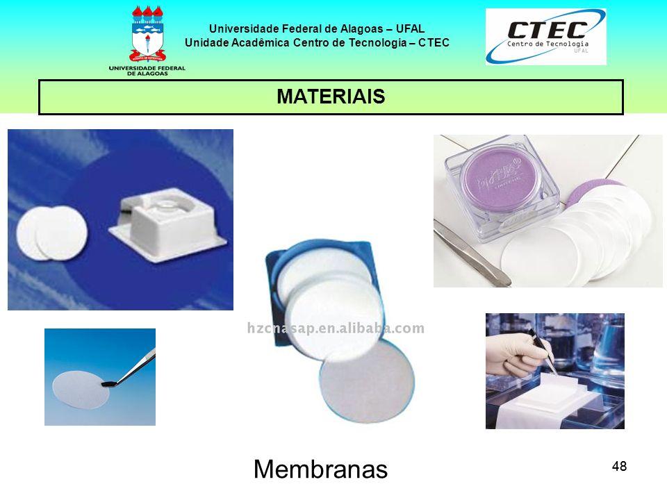 48 MATERIAIS Universidade Federal de Alagoas – UFAL Unidade Acadêmica Centro de Tecnologia – CTEC Membranas