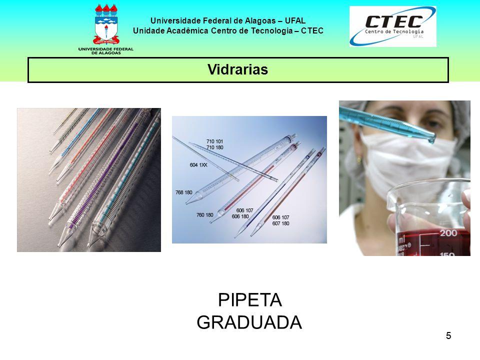 66 Vidrarias Universidade Federal de Alagoas – UFAL Unidade Acadêmica Centro de Tecnologia – CTEC PIPETA PASTEUR