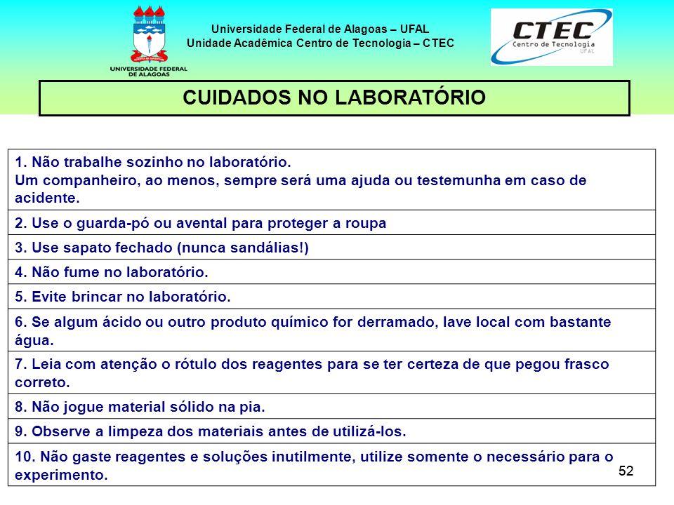 52 CUIDADOS NO LABORATÓRIO Universidade Federal de Alagoas – UFAL Unidade Acadêmica Centro de Tecnologia – CTEC 1. Não trabalhe sozinho no laboratório