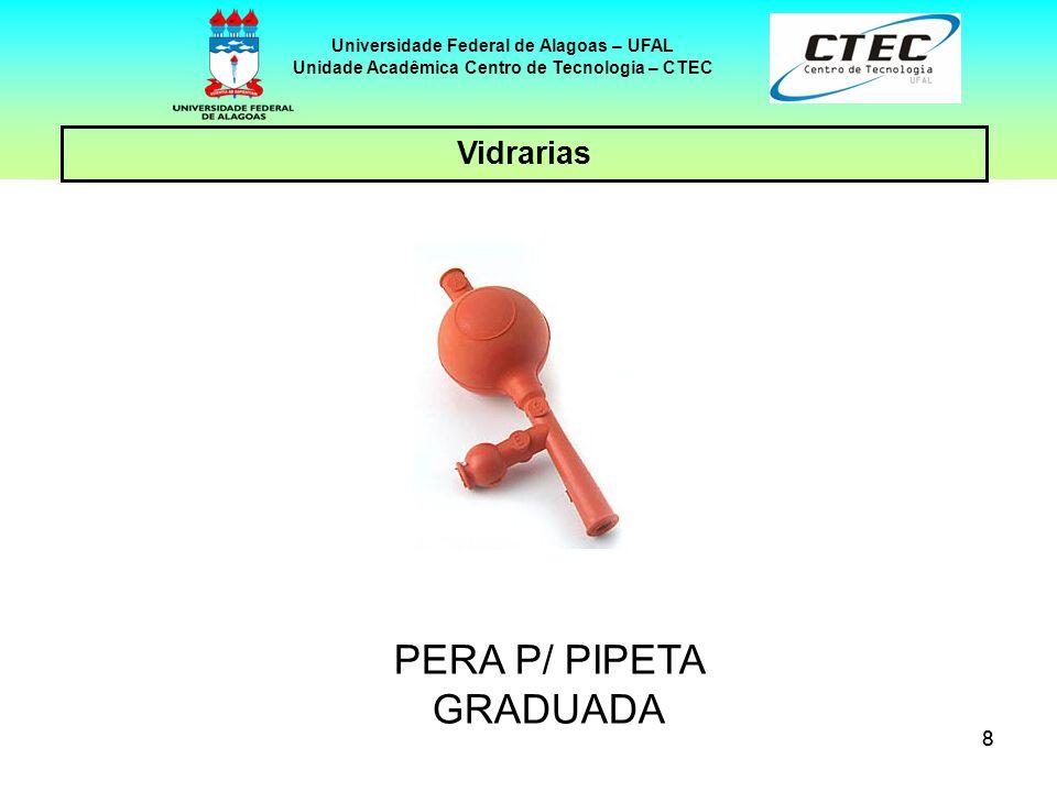 88 Vidrarias Universidade Federal de Alagoas – UFAL Unidade Acadêmica Centro de Tecnologia – CTEC PERA P/ PIPETA GRADUADA