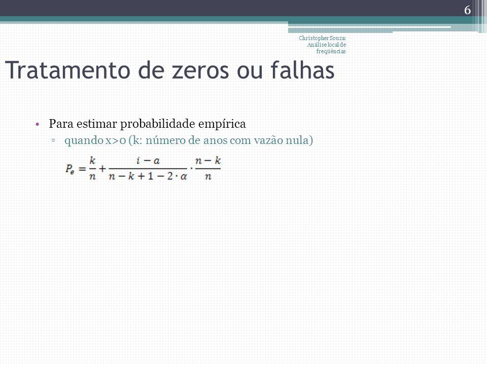 Tratamento de zeros ou falhas Para estimar probabilidade empírica quando x>0 (k: número de anos com vazão nula) Christopher Souza: Análise local de fr
