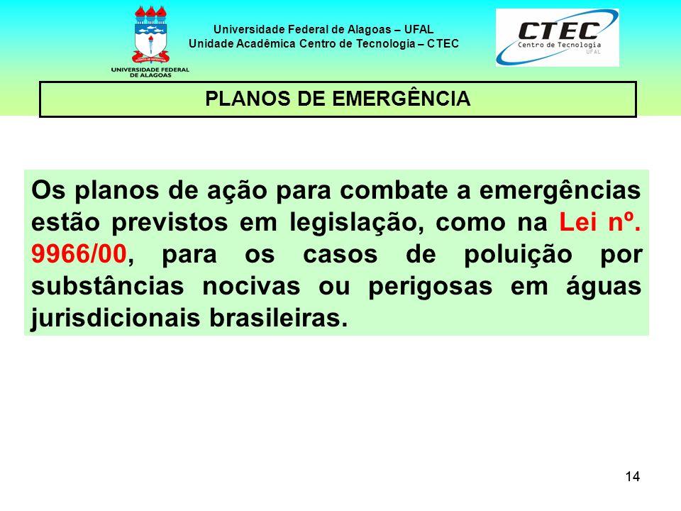 14 Universidade Federal de Alagoas – UFAL Unidade Acadêmica Centro de Tecnologia – CTEC PLANOS DE EMERGÊNCIA Os planos de ação para combate a emergênc
