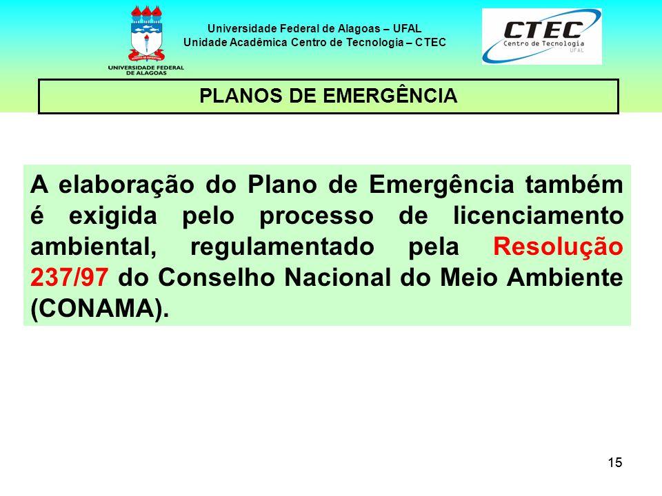 15 Universidade Federal de Alagoas – UFAL Unidade Acadêmica Centro de Tecnologia – CTEC PLANOS DE EMERGÊNCIA A elaboração do Plano de Emergência també