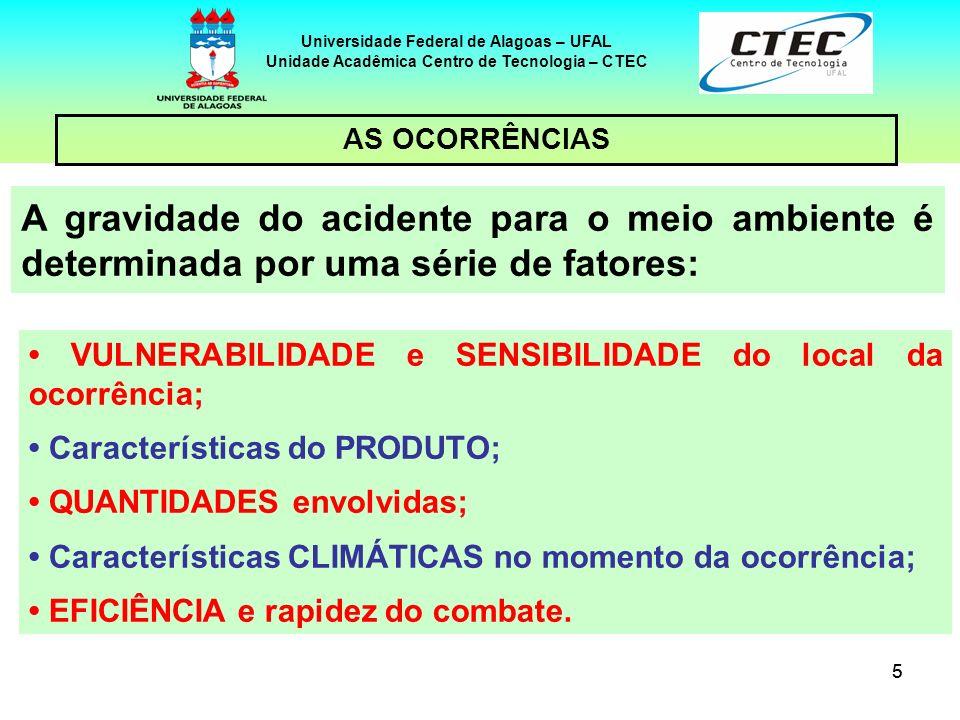 55 Universidade Federal de Alagoas – UFAL Unidade Acadêmica Centro de Tecnologia – CTEC A gravidade do acidente para o meio ambiente é determinada por