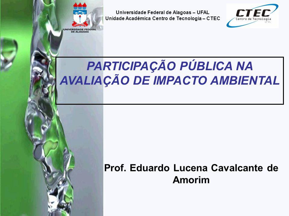 22 Universidade Federal de Alagoas – UFAL Unidade Acadêmica Centro de Tecnologia – CTEC INTRODUÇÃO Uma das características mais marcantes do processo de AIA é a importância que tem a participação do público.