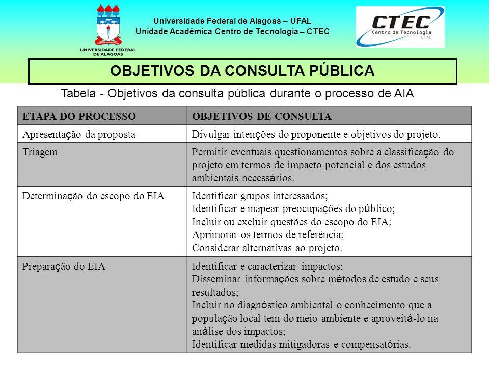 11 Universidade Federal de Alagoas – UFAL Unidade Acadêmica Centro de Tecnologia – CTEC OBJETIVOS DA CONSULTA PÚBLICA – cont.