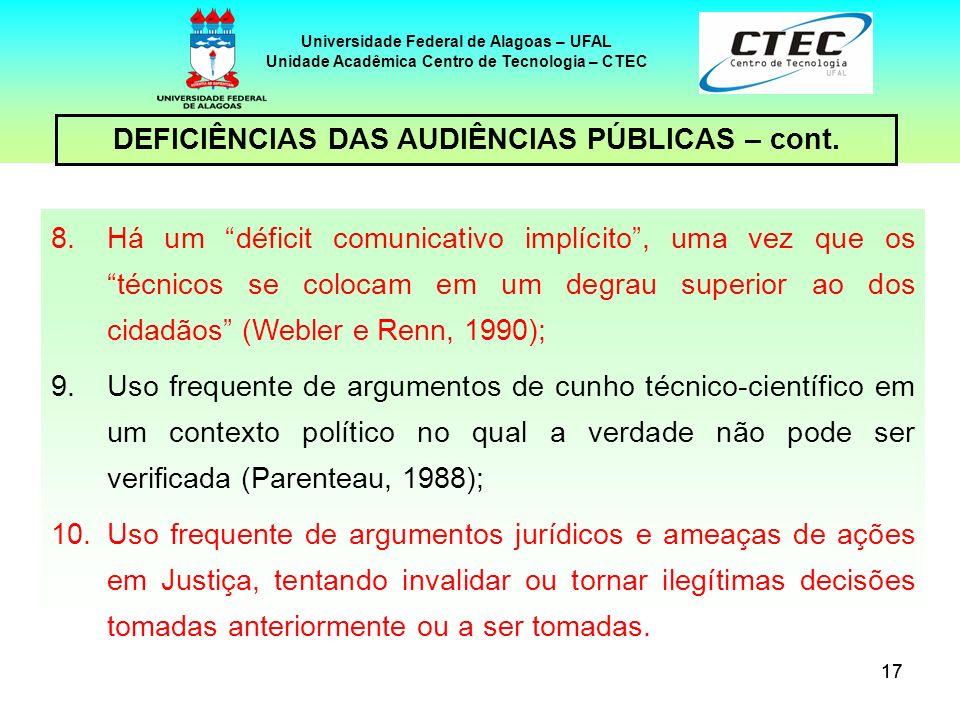 18 Universidade Federal de Alagoas – UFAL Unidade Acadêmica Centro de Tecnologia – CTEC PROCEDIMENTOS DE CONSULTA PÚBLICA EM ALGUMAS JURISDIÇÕES Em muitos países – e o Brasil é um deles – a AIA foi pioneira na institucionalização de procedimentos formais de consulta e participação, como as audiências públicas.